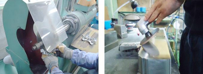 金属研磨・バフ加工の作業工程風景